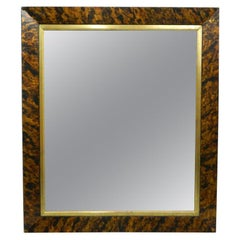 Faux Tortoise Shell Finished Mirror Frame with a Gold Leaf Trim, 20th Century
