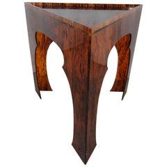 Faux Tortoiseshell Acrylic Triangle Table, Tall