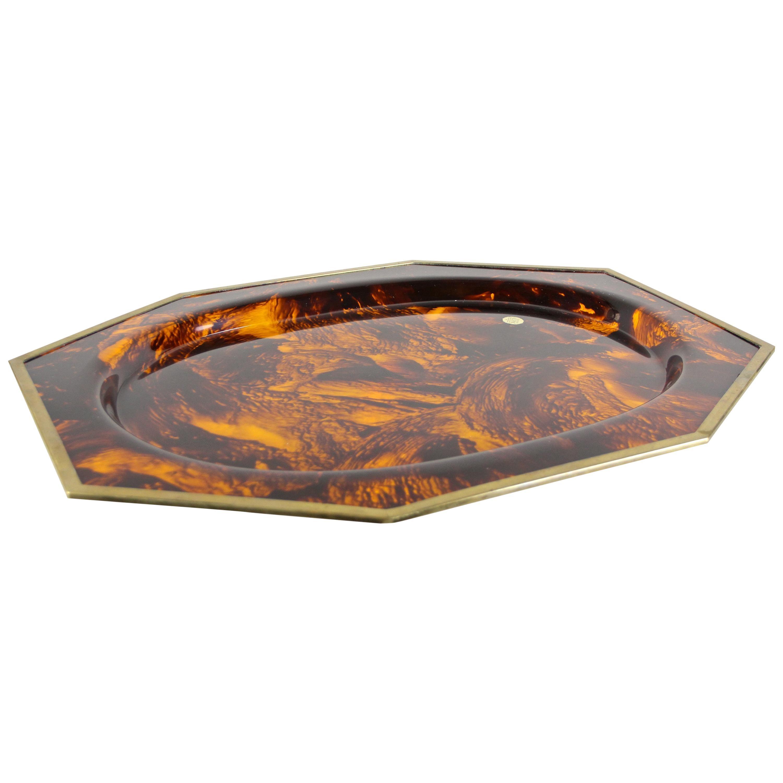 Faux Tortoiseshell Plexiglass Plate with Brass Edges by ALPAC, France circa 1980