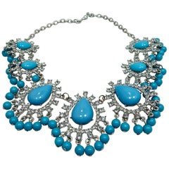 Faux Turquoise & Clear Crystals Bib Necklace