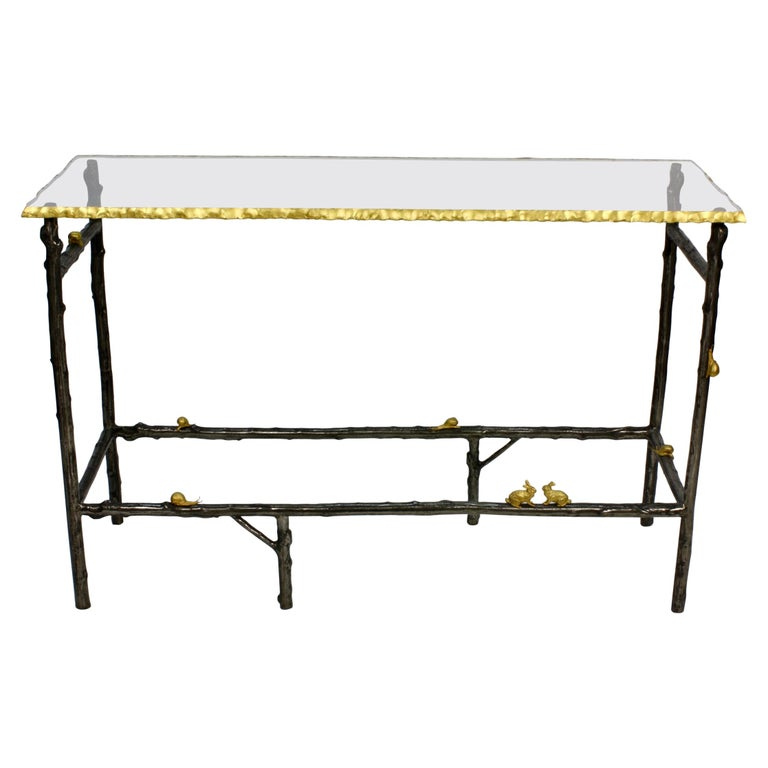 Faux Twig Console Table with Gilt-Bronze Snails and Rusticated Glass Top For Sale