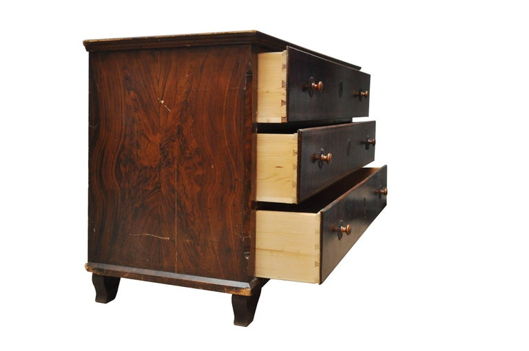 Faux Wood Grained Large Chest of Drawers In Good Condition For Sale In Geneva, IL