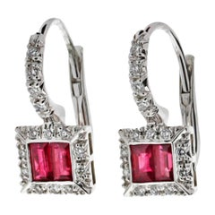Favero Diamond and Ruby Drop Earrings
