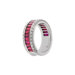Favero Emerald Cut Ruby and Diamond Ring