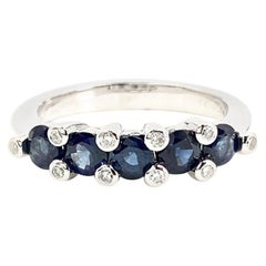 Favero Sapphire and Diamond 18 Karat White Gold Band Ring