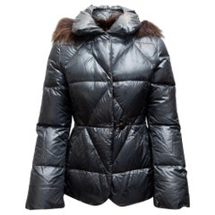 Fay Grey Hooded Down Puffer Jacket