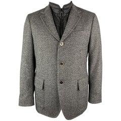 FAY Size M Gray Heather Polyamide Notch Lapel Detachable Vest Jacket