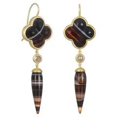 Faye Kim 18 Karat Gold Diamond and Banded Agate Clover Drop Earrings