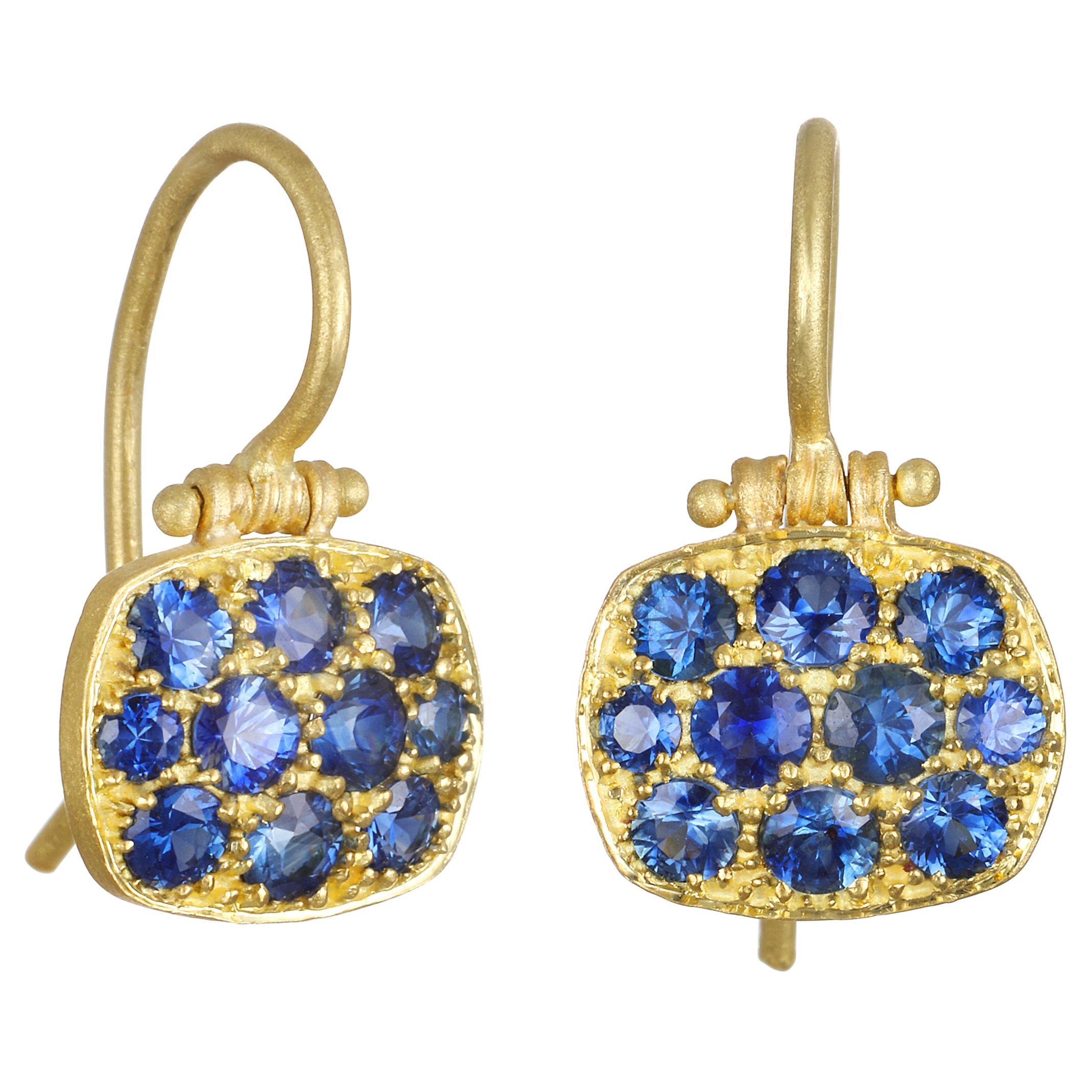 Faye Kim 18 Karat Blue Sapphire Chiclet Earrings
