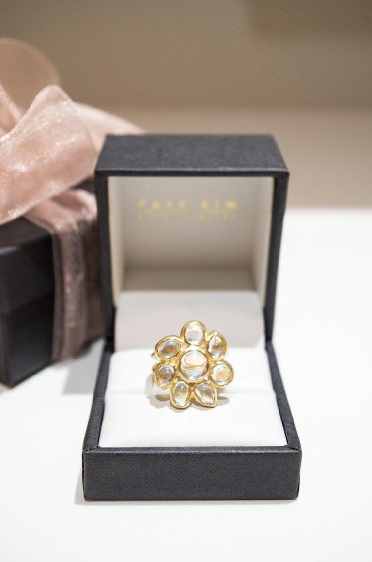 Oval Cut Faye Kim 18 Karat Ceylon Blue Moonstone Daisy Cocktail Ring For Sale