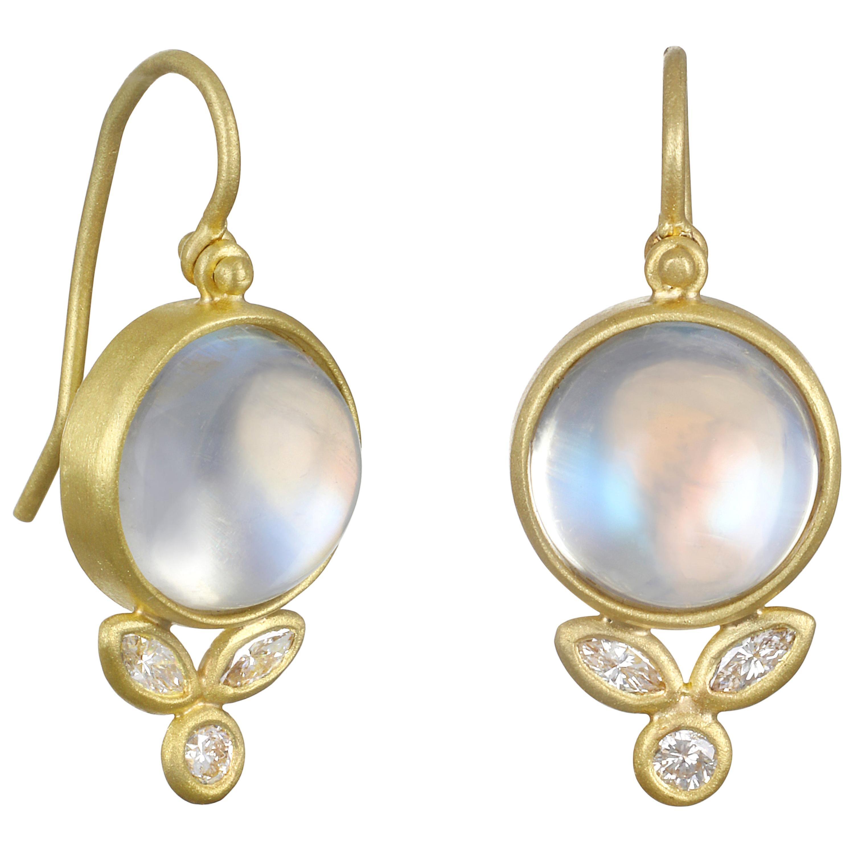 Faye Kim 18 Karat Gold Diamond and Ceylon Blue Moonstone Drop Earrings