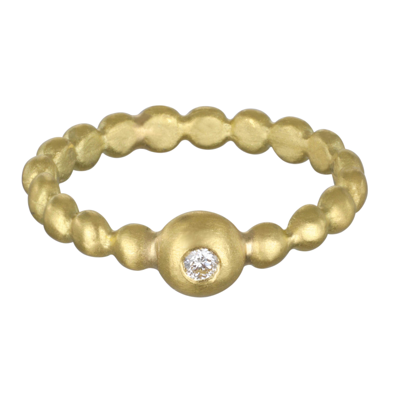 Faye Kim 18 Karat Gold Diamond Bead Stack Ring