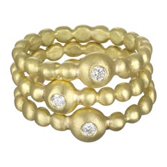 Faye Kim 18 Karat Diamond Bead Stack Ring