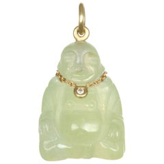 Faye Kim 18K Gold Diamond Jade Buddha Necklace