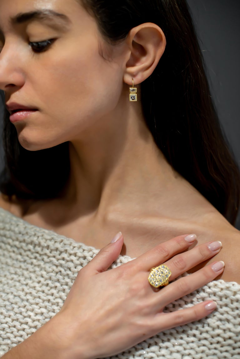 Faye Kim 18 Karat Gold Diamond Pave Chiclet Ring In New Condition For Sale In Westport, CT