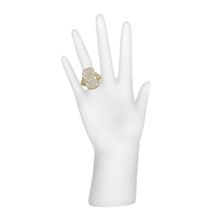 Women's Faye Kim 18 Karat Gold Diamond Pave Chiclet Ring For Sale