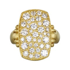 Faye Kim 18 Karat Gold Diamond Pave Chiclet Ring