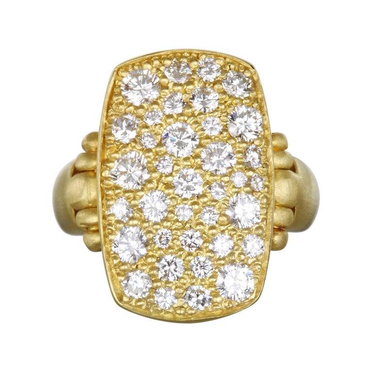 Faye Kim 18 Karat Gold Diamond Pave Chiclet Ring For Sale