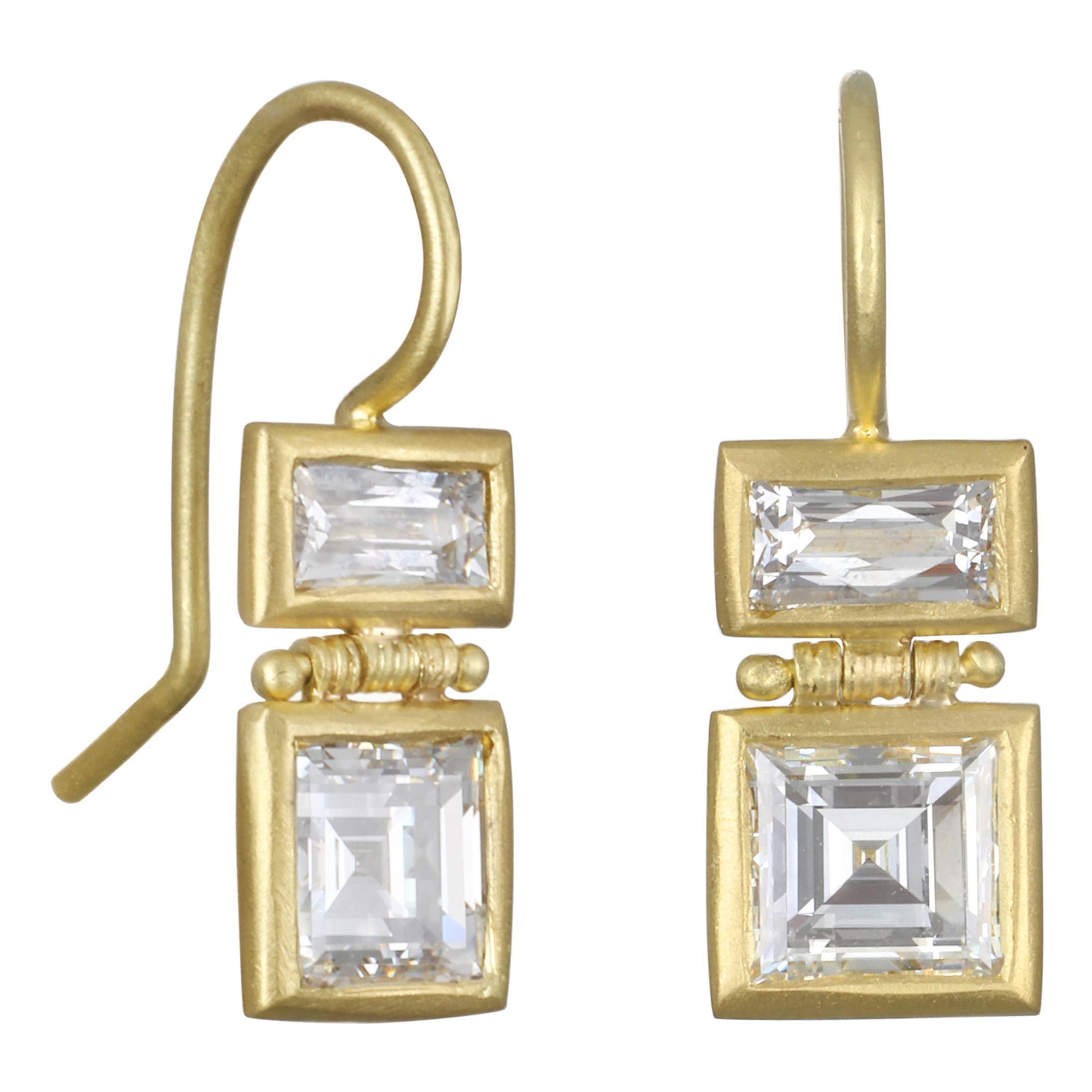 Faye Kim 18 Karat Gold Double Diamond Drop Earrings