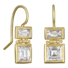Faye Kim 18 Karat Gold Double Diamond Drop Earrings
