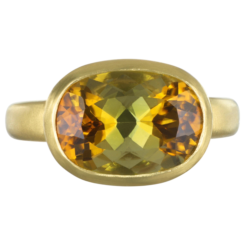 Faye Kim 18 Karat Gold 5.54 Carat Yellow-Olive Cushion Cut Tourmaline Ring
