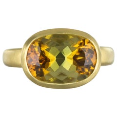 Faye Kim 18 Karat Gold 5.54 Carat Yellow-Olive Cushion Cut Tourmaline Ring