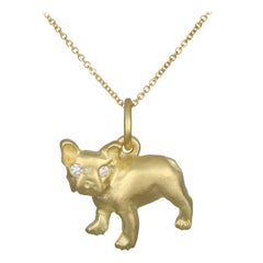 Faye Kim 18 Karat Gold and Diamond French Bulldog Charm Necklace