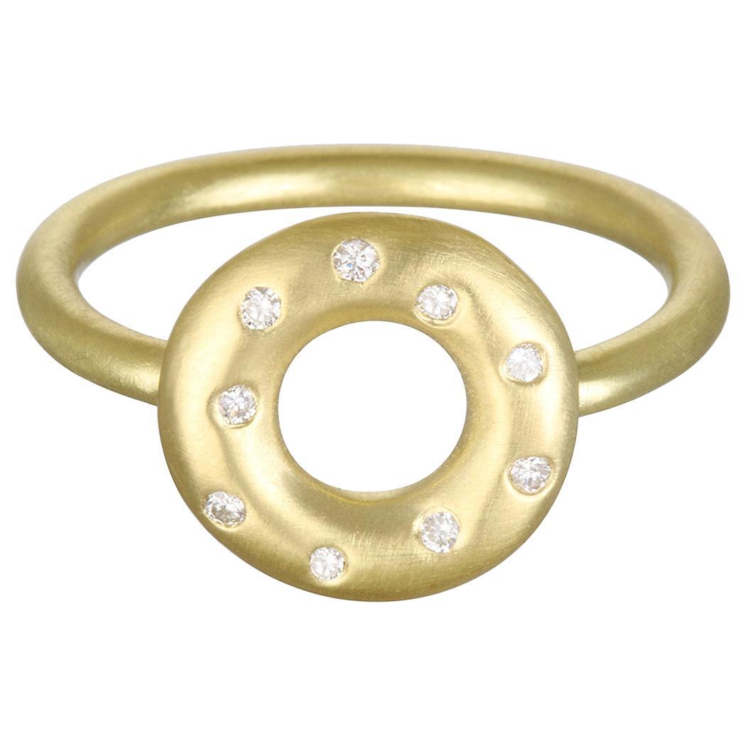 Faye Kim 18 Karat Gold and Diamond Lifesaver Ring