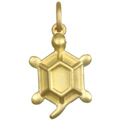 Faye Kim 18 Karat Gold and Diamond Turtle Charm Necklace