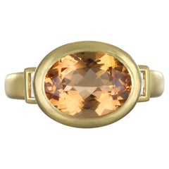 Faye Kim 18 Karat Gold Apricot Imperial Topaz Diamond Baguette Ring