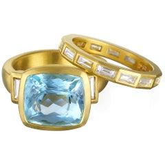 Faye Kim 18 Karat Gold Aquamarine and Diamond Three-Stone Ring