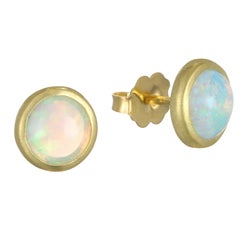 Faye Kim 18 Karat Gold Australian Opal Stud Earrings