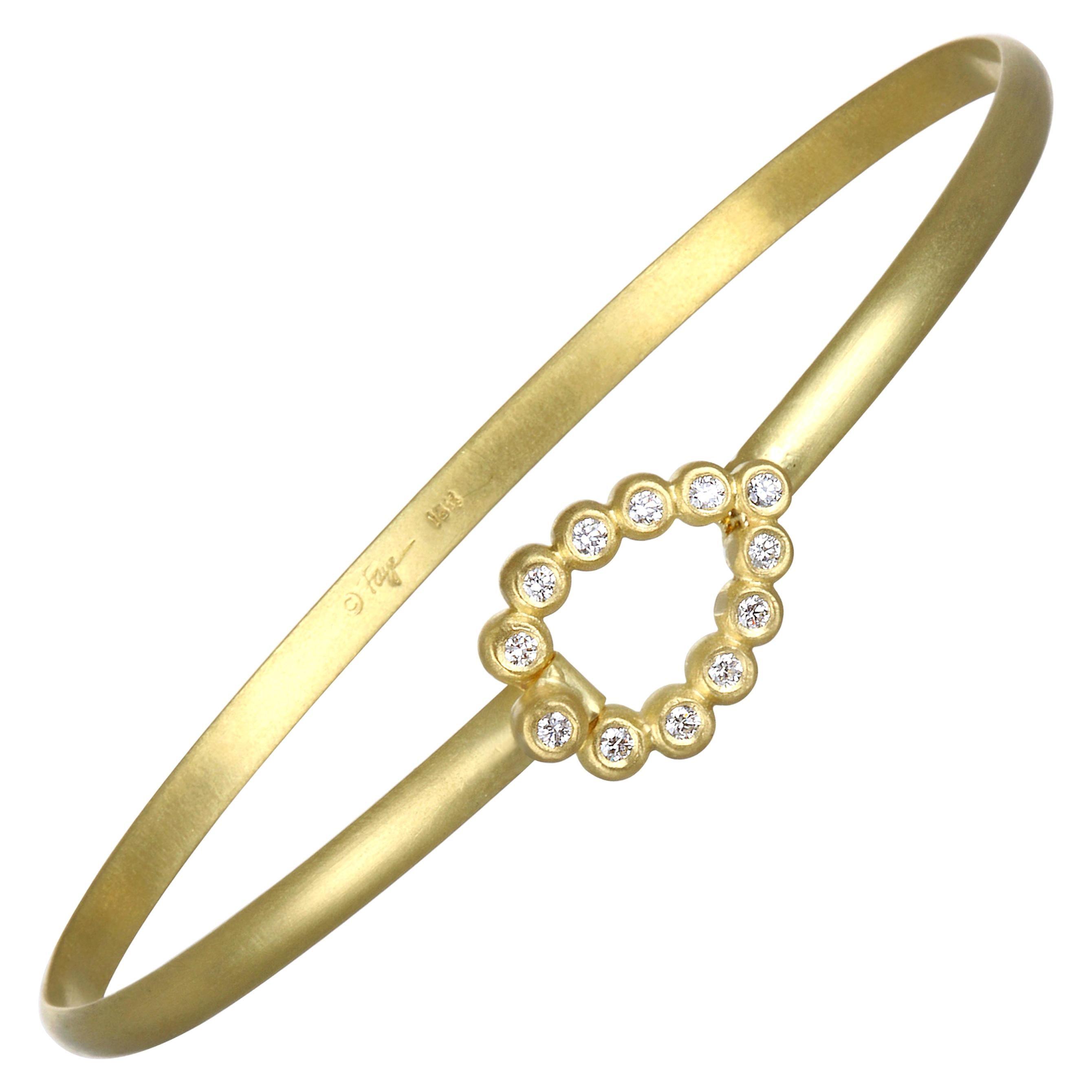 Faye Kim 18 Karat Gold Bangle Bracelet with Diamond Tear Drop Closure