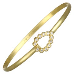 Faye Kim 18 Karat Gold Bangle Bracelet with Diamond Tear Drop Closure