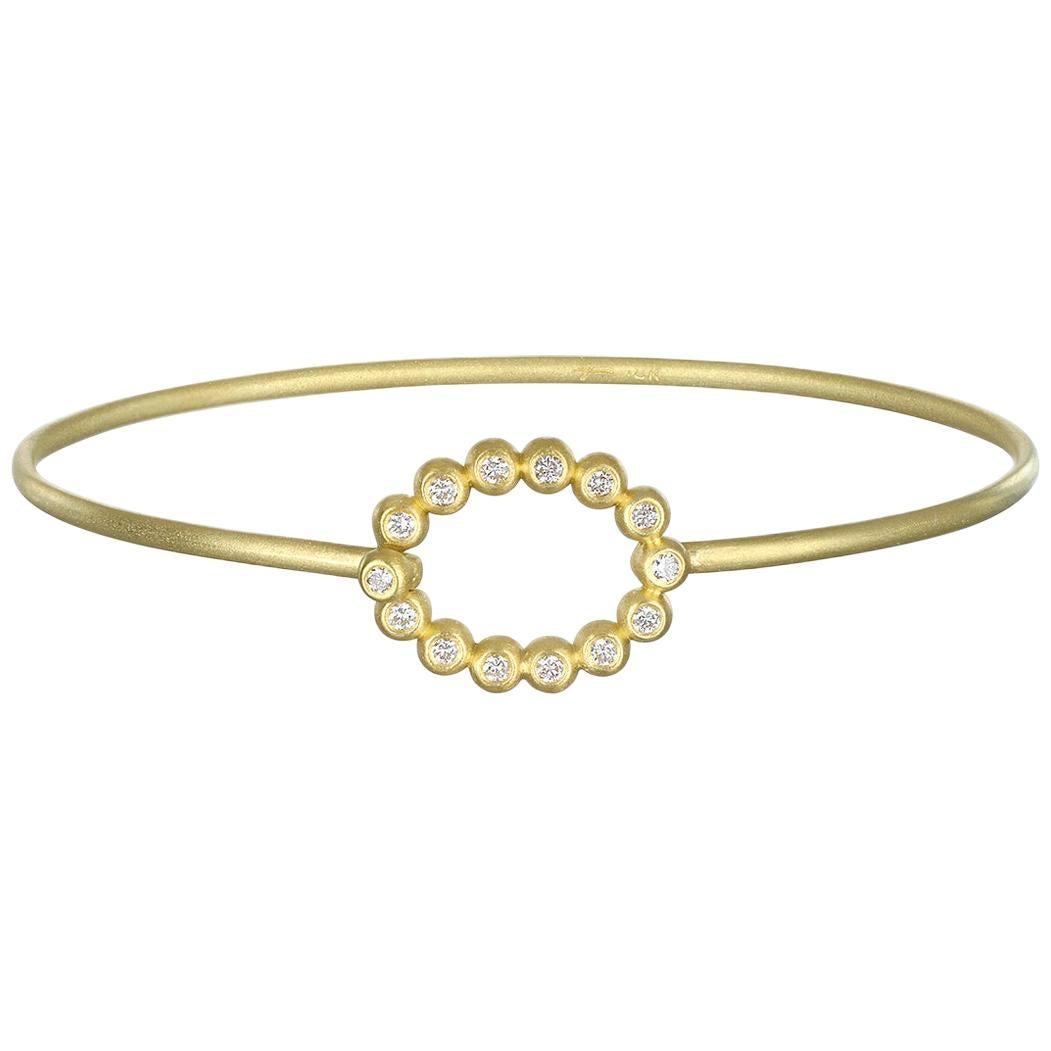 Faye Kim 18 Karat Gold Bangle with Oval Diamond Closure
