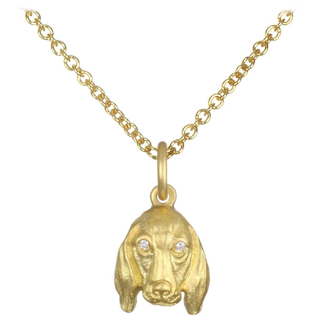 Faye Kim 18 Karat Gold Basset Hound Dog Charm Necklace with Diamond Eyes