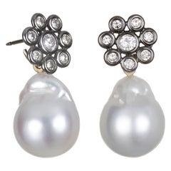 Faye Kim 18 Karat Gold Black Rhodium Diamond Earrings with South Sea Pearl Drops