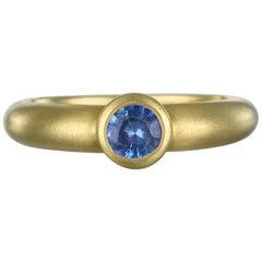 Faye Kim 18 Karat Gold Blue Ceylon Sapphire Bezel Ring