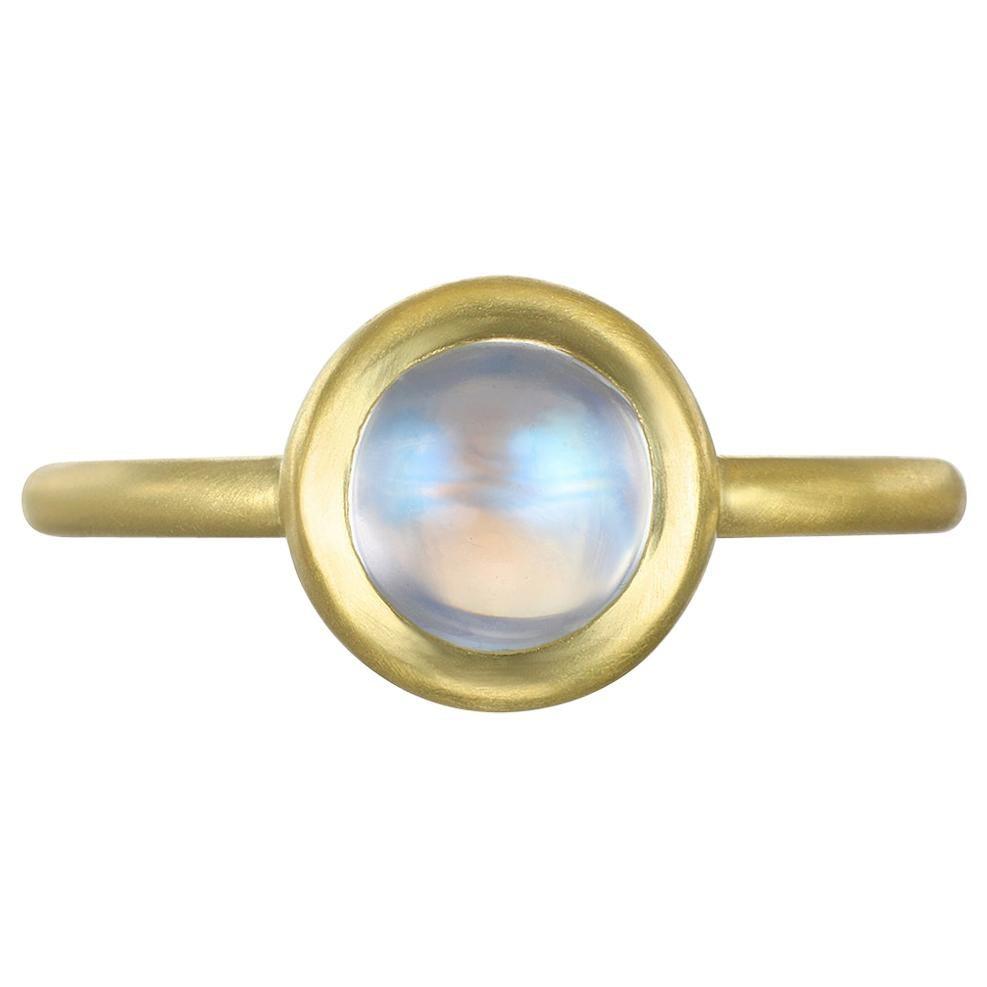 Faye Kim 18 Karat Gold Blue Moonstone Bezel Ring
