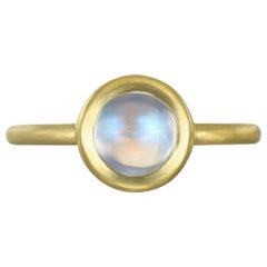 Faye Kim 18 Karat Gold Blue Moonstone Bezel Ring