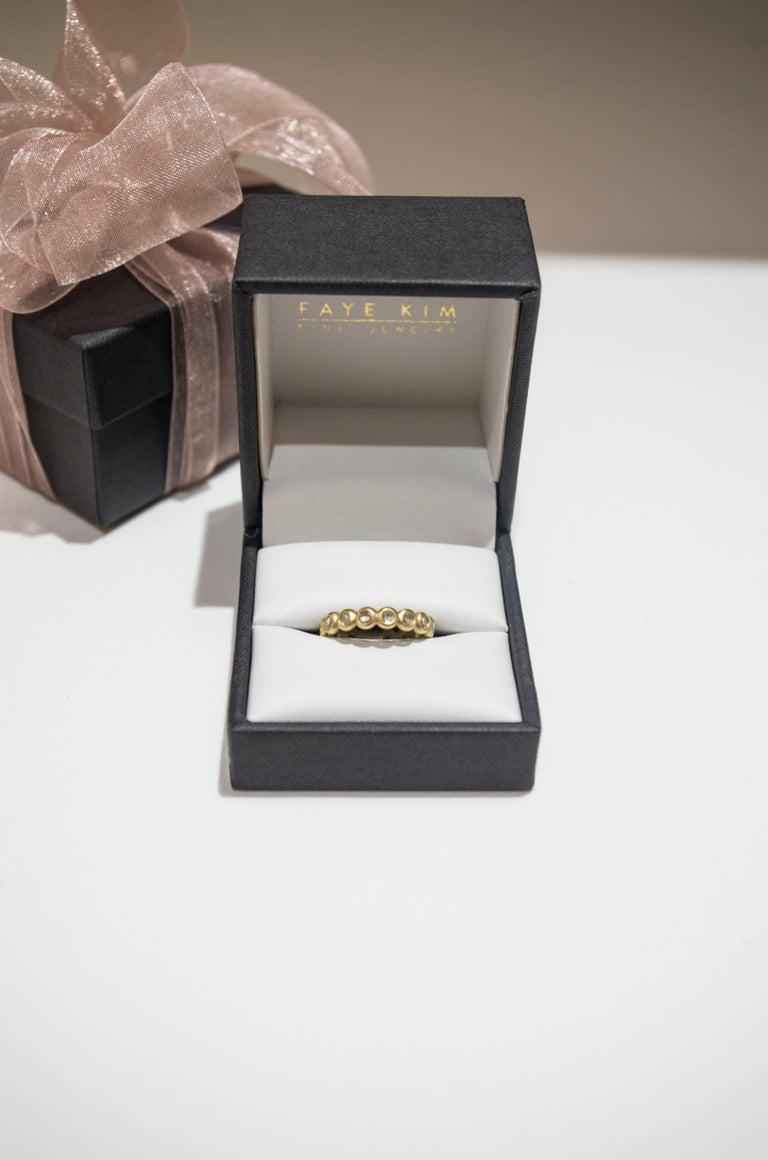 Contemporary Faye Kim 18 Karat Gold Burma Moonstone Eternity Ring For Sale