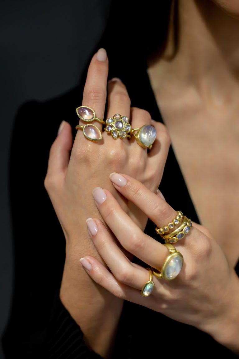 Cabochon Faye Kim 18 Karat Gold Burma Moonstone Eternity Ring For Sale