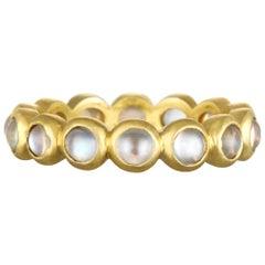 Faye Kim 18 Karat Gold Burma Moonstone Eternity Ring