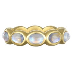 Faye Kim 18 Karat Gold Burma Moonstone Eternity Ring