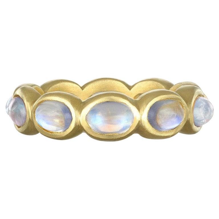 Faye Kim 18 Karat Gold Burma Moonstone Eternity Ring For Sale