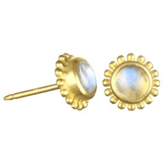 Faye Kim 18 Karat Gold Burmese Moonstone Granulation Stud Earrings