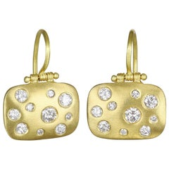 Faye Kim 18 Karat Gold Burnished Diamond Gold Chiclet Earrings