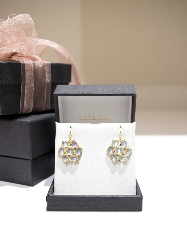 Contemporary Faye Kim 18 Karat Gold Ceylon Moonstone Daisy Earrings For Sale