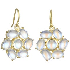 Faye Kim 18 Karat Gold Ceylon Moonstone Daisy Earrings