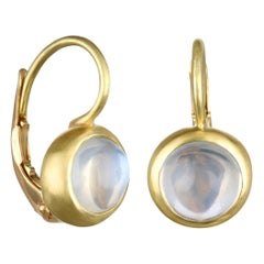 Faye Kim 18 Karat Gold Ceylon Moonstone Leverback Earrings